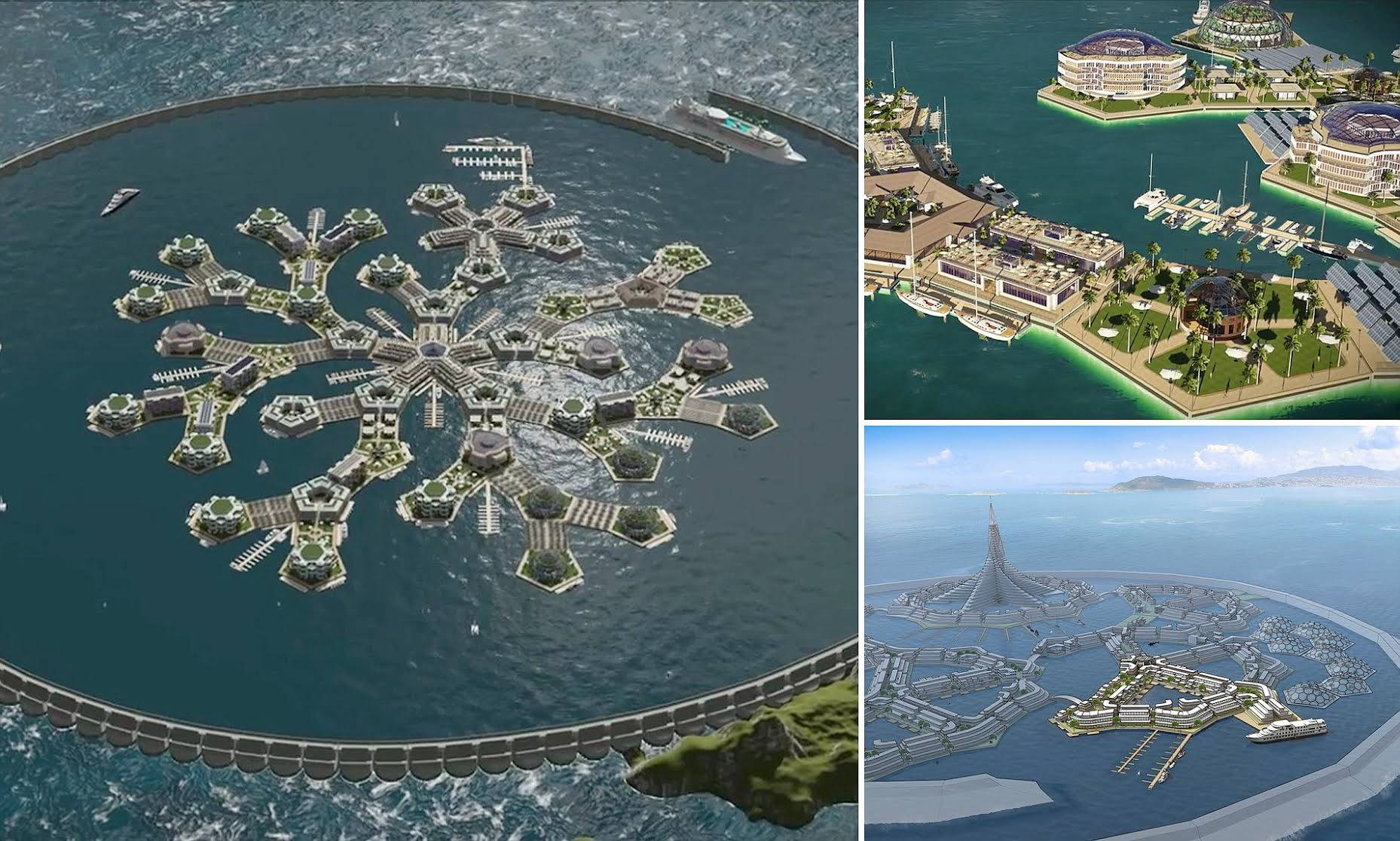 Plans for world's first 'floating city' unveiled: Radical designs could be built in the Pacific Ocean in 2019